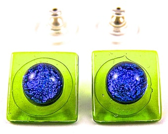 "Dichroic Post Earrings - Green Lime Blue Teal Dichro Fused Stained Glass Accent Dot Post or Clip - 1/2"" 12mm"