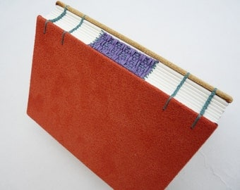 Terracotta, brick red, camel, mustard yellow, journal, Coptic, woven spine, notebook, faux suede