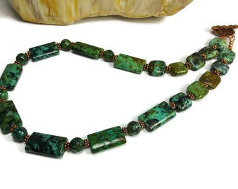 Turquoise and Copper Necklace,  Beaded Gemstone Necklace