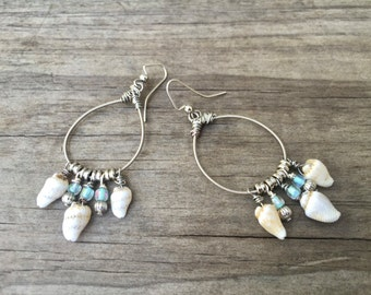 GUITAR STRING EARRINGS -  seashell earrings - silver, shell  and light blue - for teens and adults - recycled/eco-friendly/upcycled under 25