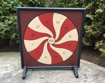 """19"""", Penny Pitch, Game Board, Wood, Hand Painted, Folk Art, Game Boards, Primitive, Wooden"""