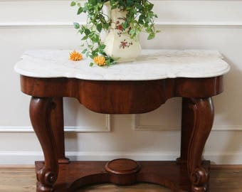 Antique Marble Top Wash Stand, Console Table, English, Victorian.