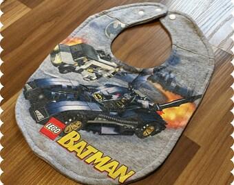 Lego Batman Baby Bib, Recycled T-Shirt Bib, Baby Boy Baby Shower Gift, Superhero Bib