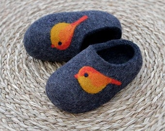 Hand made felted Wool Slippers in  Charcoal with orange bird decor. Made to order.