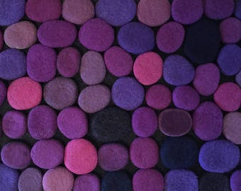 Felt stone rug / bath mat super soft with soft core  3D multicolor in Pink-Purple shades . Size 90 cm x 50 cm. Ready to ship!