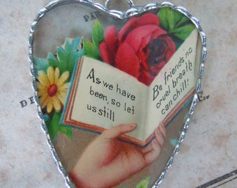 Fiona & The Fig - Victorian Era-Die Cut Scrap- Hand with Open Book and Roses - Sweet Sentiment - Soldered Charm - Necklace - Pendant-Jewelry