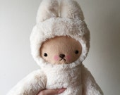 Kawaii Bunny Rabbit Luxury Fur Minky Plush Large Cream