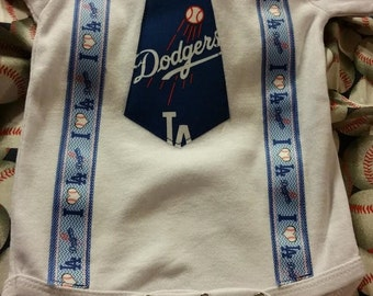 LA Dodgers Tie bodysuit with suspenders - Baby sizes available 0-3m, 3-6, 6-12m, 12-18