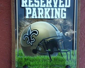 Free Priority shipping buy today shipped tomorrow! New Orleans Saints Coat, keys or caps holder, rustic style, license plate with two hooks