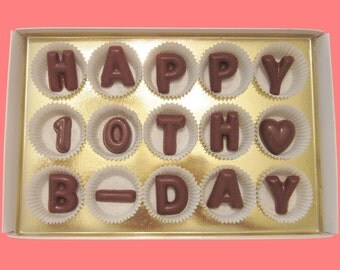 10th Birthday Gift for Girl Boy Birthday Present 10 Ten Year Old Boy Girl Unique Party Decor Happy 10th B Day Large Milk Chocolate Letters