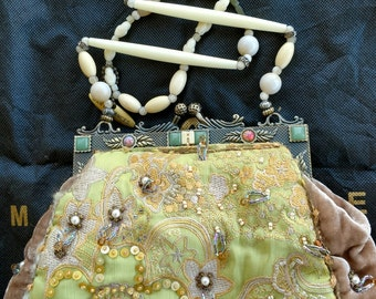 Mary Frances Cream Pearl Sequin Shoulder Bag Velvet Green