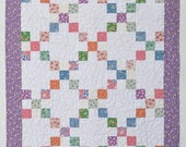 Pastel Baby Quilt, Patchwork Crib Quilt, Baby Bedding, Nursery Decor, purple 30's reproduction fabrics