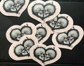 Skull in heart saint valentines day sticker