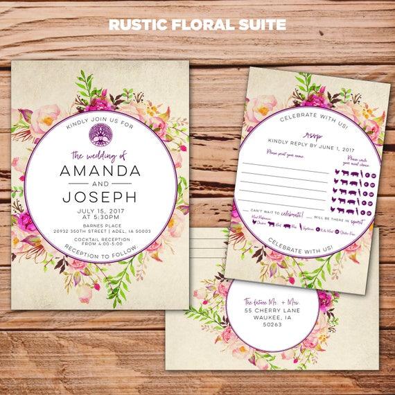 Rustic Floral Wedding Invitation - DIY printable - rustic - vintage - floral - bohemian - wedding invite
