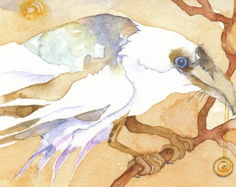 WHITE RAVEN greeting card watercolor SPIRIT totem animal 'Dream Raven' blank