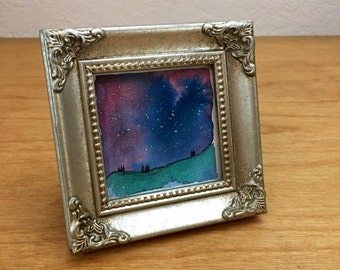 Galaxy Artwork, Watercolor Landscape, Landscape Painting, Original Artwork, Abstract Painting, Gift Under 30, Home Decor, Mini Painting