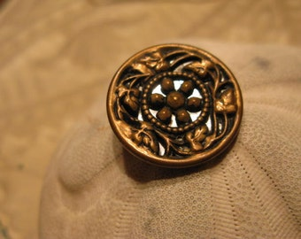 "Large Vintage Twinkle Brass Overlay Filigree Mirrored Button, Aged to Perfection, Tad over 1 "" from Old Stash, More in SeaSeaRider"