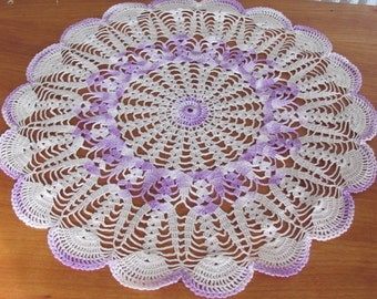 Vintage 70's Handmade Lilac and Mocha Spiderweb Crochet Doilie - 12 inches - Doily - Home Decor - Granny Chic - Lavender Doilie