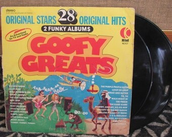 """Vintage 70's K'Tel """"Goofy Greats 28 Original Hits"""" Vinyl Records - 2 funky albums - As Advertised on TV - 70's Party Music - 70's Album"""
