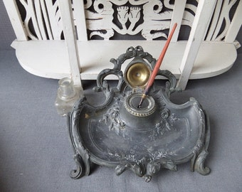 French Antique Art Nouveau  Bronze Alloy  Jugendstil  Very Ornate Ink stand 1920s