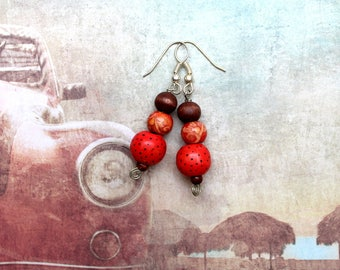 Wood earrings red mix casual