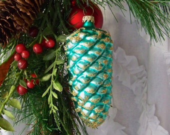 Vintage Pinecone Glass Ornament Green Pinecone Gold Glitter West Germany Ornament Christmas Tree Glass Ornament Holiday Ornament 1980s