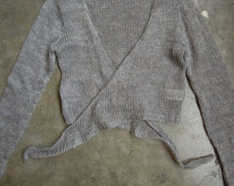Vtg 90's Open Knit Sheer Fuzzy Grey Mohair Blend Cropped Tie Cardigan Sweater Size S