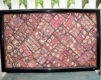 """Framed Sindh Textile with Hand Embroidery Patchwork and Mirror Work-28""""x45""""in"""