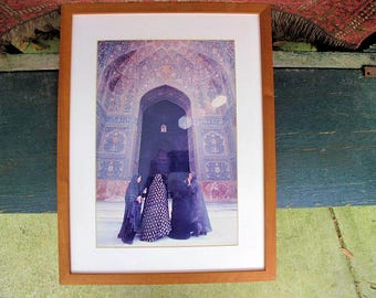 """Islamic Art: Vintage Framed Photograph- Ladies at the Mosque on the Old Silk Route-14.5""""x 19"""""""