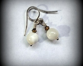 White Mother of Pearl Earrings - Pearl and Crystal Earrings