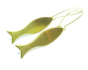 Fish Raw Brass Kidney Wire Earrings