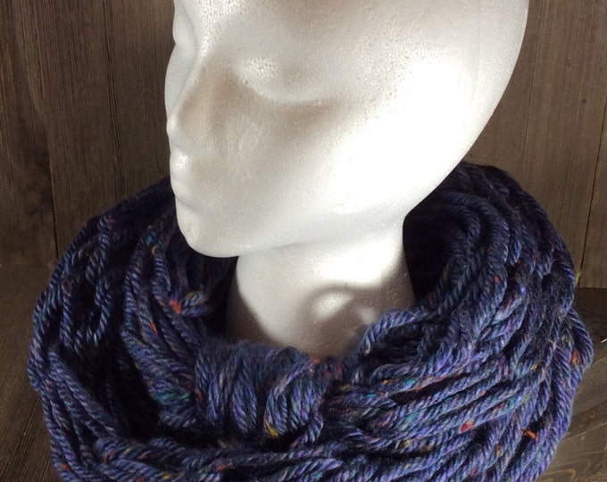 Super Bulky Arm Knit Infinity Scarf ~ Sioux City Tweed