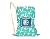 Laundry Bag, Oversided Drawstring Bag, Laundry Tote, Laundry Drawstring Bag, Monogrammed, Personalized, Anchors, Nautical