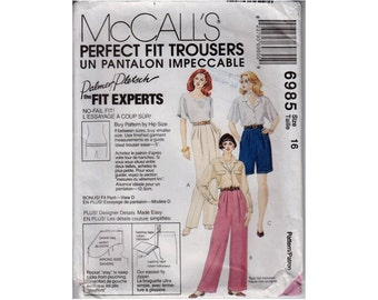 """Perfect Fit Pants Sewing Pattern includes Shorts And Fitting Shell Sloper Front Pleats Fly Front Size 16 Waist 30"""" (76 cm) McCall's 6985 S"""