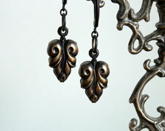 Leaf Earrings - Vintage Hollow Ornate Brass Leaves - Scrolled Dangle Old Puffy Charm Drops