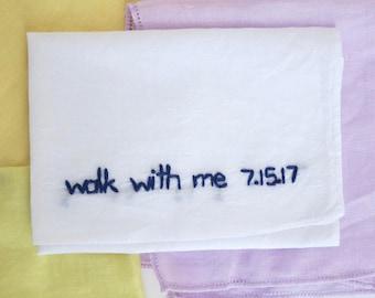 Wedding Handkerchief Custom Wedding Embroidery Parents of the Bride Gift Wedding Keepsake