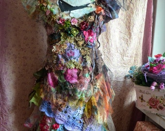 Altered couture dress reworked artsy dress fairy gypsy wearable art dress art to wear dress size M