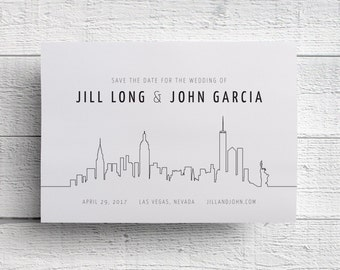 New York Save the Date | New York Wedding | New York Invitation | Manhattan Skyline | New York Skyline | Manhattan Wedding | NYC Invitation