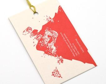 letterpress gift tag / murakami / upcycled calendar / tag / swing tag / gift giving / single tag / letterpress print