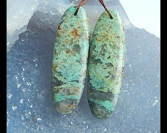 Chrysocolla Gemstone Earring Bead,40x13x5mm,9.7g