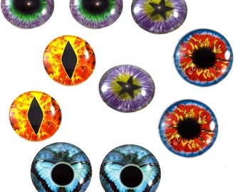 5 Pairs 30mm Wild Fantasy Glass Eye Cabochons Set of 10 Eyes  - Bulk Wholesale Lot - Taxidermy Art Sculptures or Jewelry Making Supply