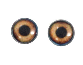 16mm Dog Glass Eyes - Light Brown Animal Eyes - Pair of Glass Eyes for Doll, Sculpture, Taxidermy or Jewelry Making - Set of 2