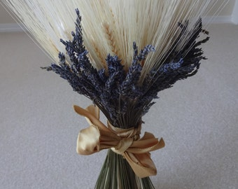 Wheat and Lavender Sheath   Floral Arrangement  Wedding Decor  Home Decor Dried Arrangement Wheat Sheath  Natural Sheath
