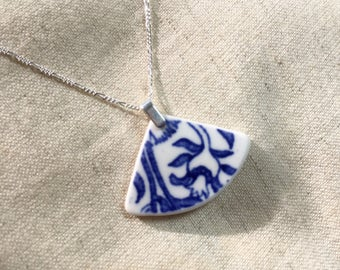 Tumbled China Pendant and Chain - home-made sea pottery, sterling silver - Tumbleworn
