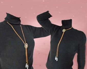 Copper Lariat Necklace - OOAK Sautoir with Antique Copper Chain - Vintage Lucite - Chandelier Crystals