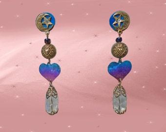 Crescent Moon and Stars Earrings are Long Celestial Earrings, OOAK Drop Earrings with Niobium Hearts, 90s Vintage