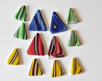 Glass Triangle Pendant Lot Red Blue Yellow Green Glass Triangle Pendants