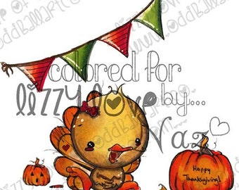 INSTANT DOWNLOAD Digi Stamp Includes Sentiment Kawaii Thanksgiving ~ Mr. Ted the Cutest Turkey Image No.262 by Lizzy Love