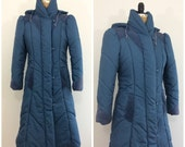 Vintage 1980s Blue Hooded Puffer Coat 80s Puffy Coat