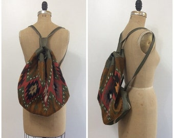 SALE 1980s Vintage Kilim Leather Backpack Bag 80s  Shoulder Purse Wary